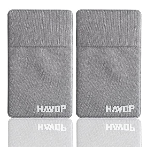 5d006241b3f9 HAVOP Credit Card Secure Holder Adhesive Phone Wallet Stick-On Stretchy  Lycra Money Clip Discreet ID Holder Universally fits most Phones & Cases ...