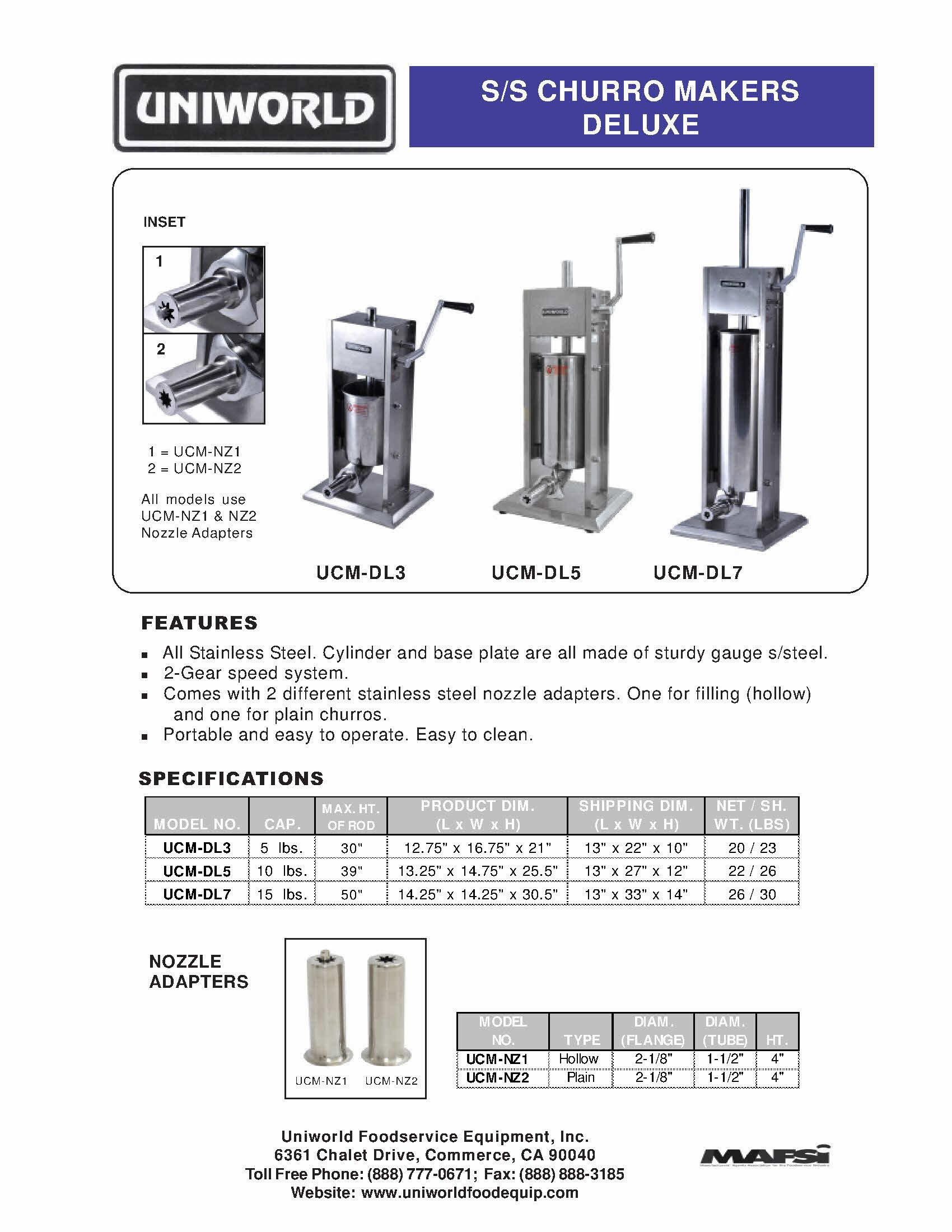 Uniworld CHURRO Maker UCM-STV3 Economy 5 lb Stainless Steel Manual Machine