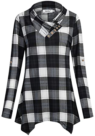 e42e9c2f55b Sixother Women Flannel Tunic 3 4 Roll Sleeve Cowl Neck Asymmetrical ...