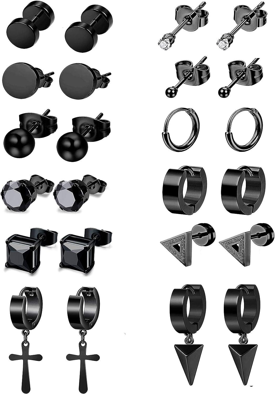 LOYALLOOK 12Pairs Stainless Steel Earrings Stud For Women Men CZ Stud Earrings Tiny Ball Huggie Hoop Cross Earrings Set Cartilage Earrings Cross Dangle Earrings