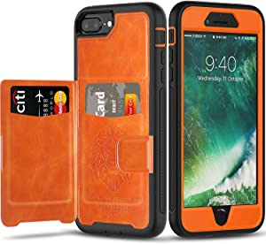 iPhone 6 7 8 Plus Case Wallet Case with Kickstand and Extreme Heavy Duty Protection.SXTech Shockproof Protective Case with PU Leather for iPhone 6 7 8 Plus 5.5 Inch.Magnetic Car Mount (Orange)