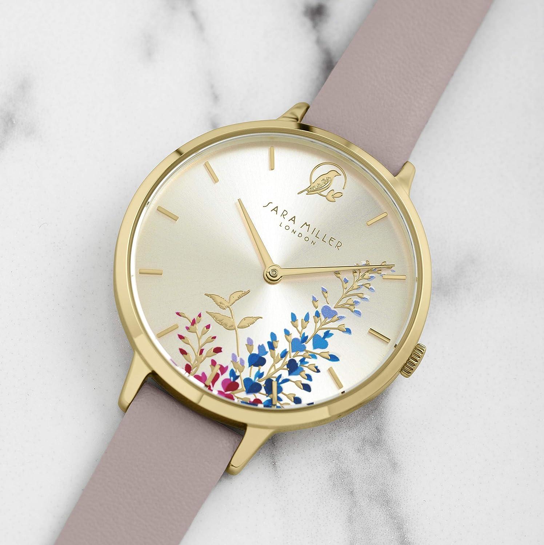 Sara Miller The Wisteria Collection SA2046 - Reloj de Pulsera (Correa de Piel, Chapado en Oro), Color Rosa: Amazon.es: Relojes