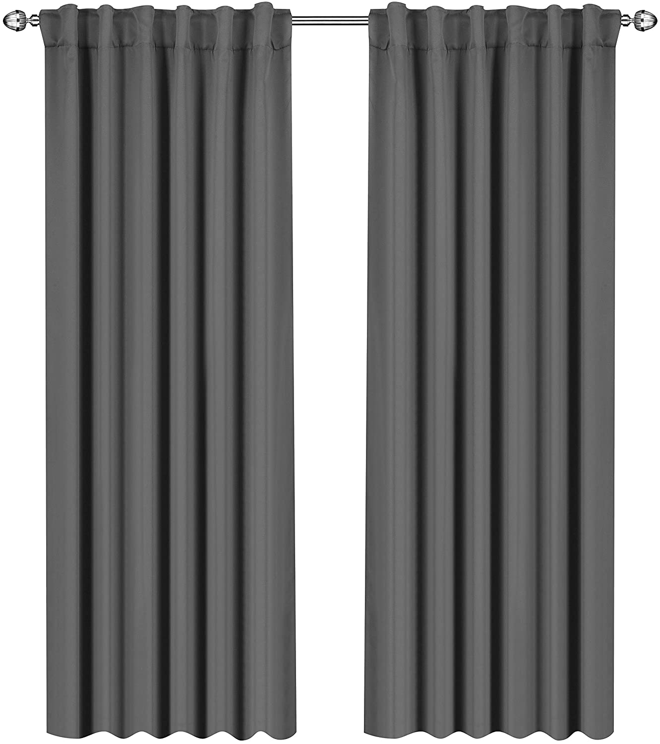 Utopia Bedding Blackout Room Darkening Curtains Window Panel Drapes Grey - 2 Panel Set 52x84 Inch
