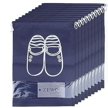 ZeWoo 10 Pcs Bolsas de zapatos, accesorios de viaje con la cremallera para los hombres y de las mujeres Cordón a prueba de polvo portátil con ventana ...