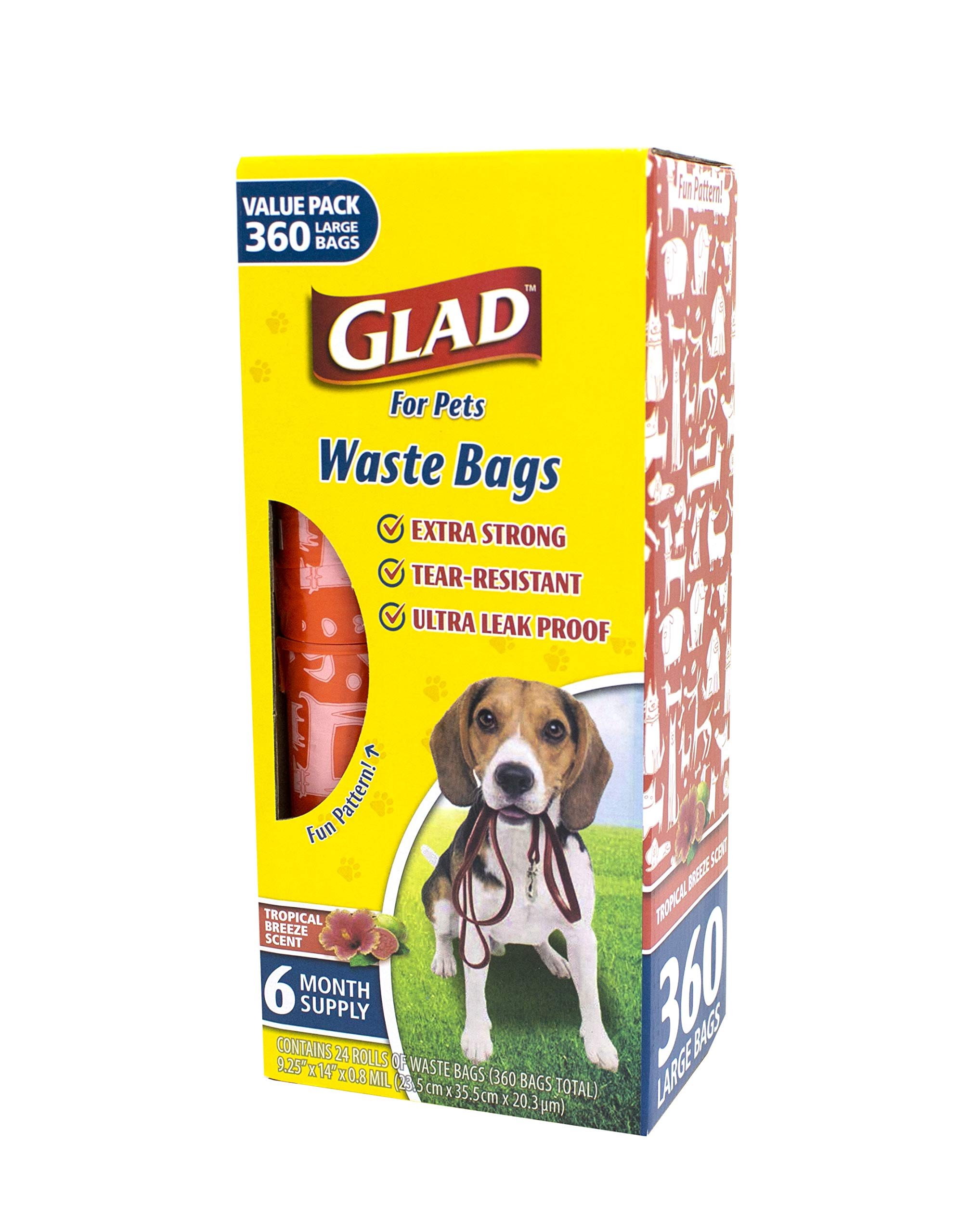 Glad for Pets Large Dog Waste Bags Value Pack | Scented, Tear-Resistant Poop Bags for Dog Cleanup | 24 Rolls, 360Count by Glad for Pets