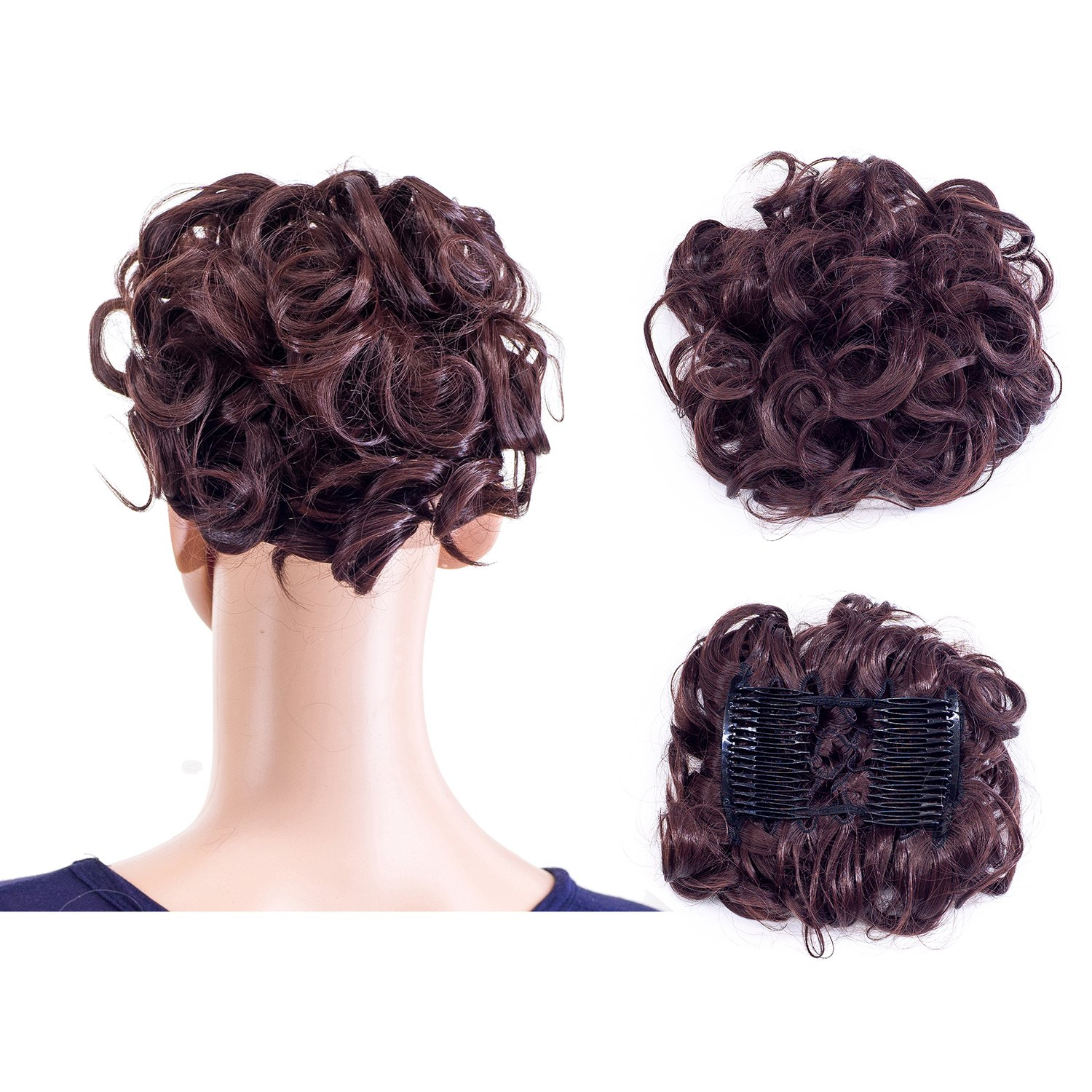 Amazon onedor synthetic clip onin messy hair bun extension swacc short messy curly dish hair bun extension easy stretch hair combs clip in ponytail extension pmusecretfo Gallery