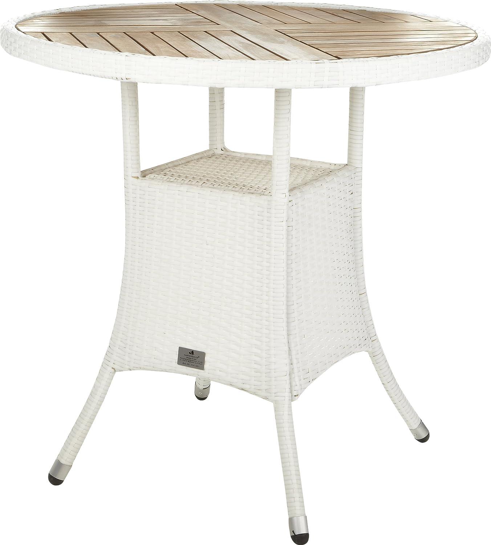 Gartenfreude Tisch Polyrattan, Aluminiumgestell mit Akazienholz, Weiß, 80 x 75 cm (DxH)