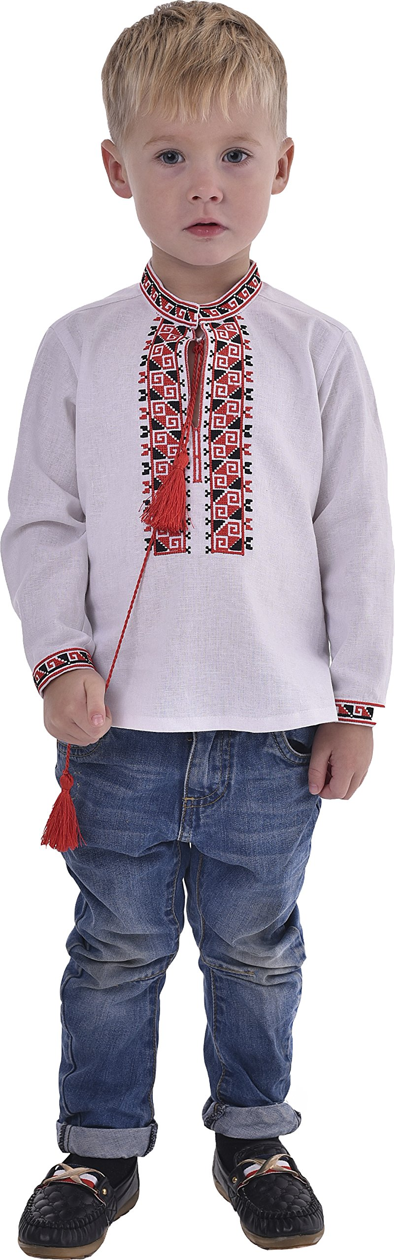 2kolyory Boys Shirts With Embroidery. Ukrainian Vyshyvanka. Children's Traditional Ukrainian Shirts With Collar For Boys. (2.5-3 Years)