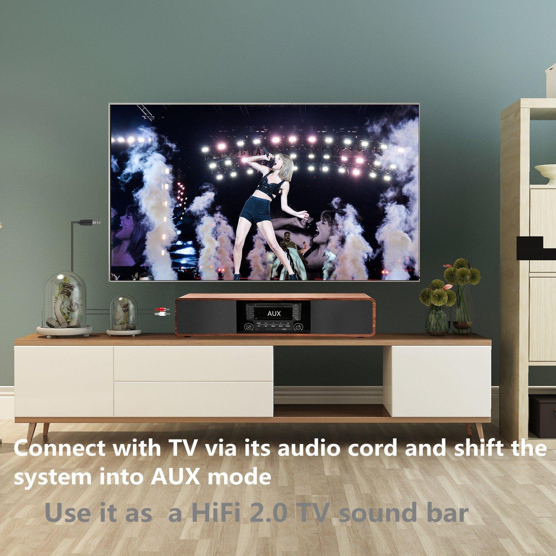 KEiiD Compact CD//MP3 Player Stereo Wooden Desktop Bluetooth Hi-Fi Speaker Portable Boombox Home Audio Component Music Shelf System with FM//AM Radio Digital Tuner Remote Control USB SD AUX,Soundbar