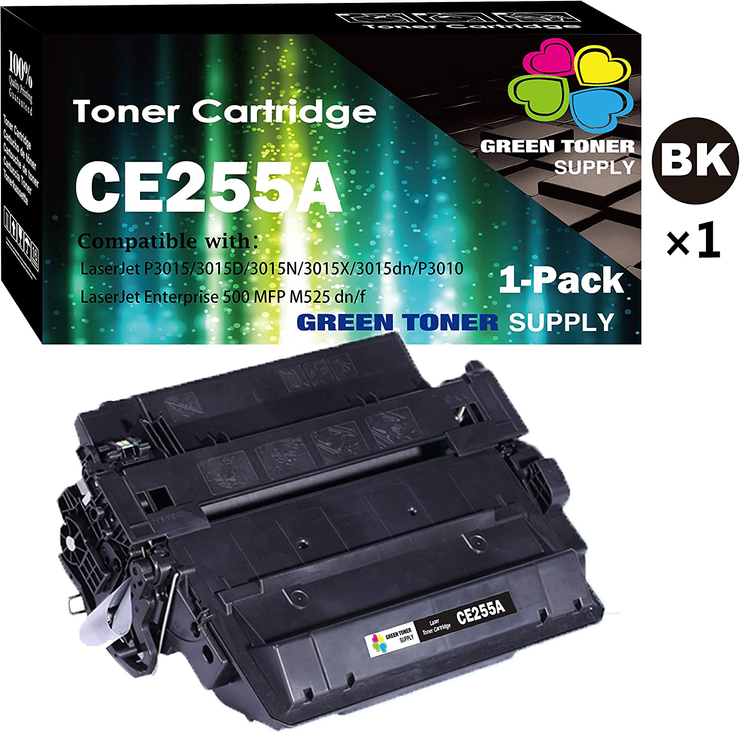 (1-Pack, Black, 6,000 Pages) GTS Compatible HP 55A 255A CE255A Toner Cartridge 55X Used for HP Laserjet Pro 500 MFP M521DN M525DN M521DW M525f P3015dn P3010 P3015x P3015 P3015d P3015n P3016 Printer