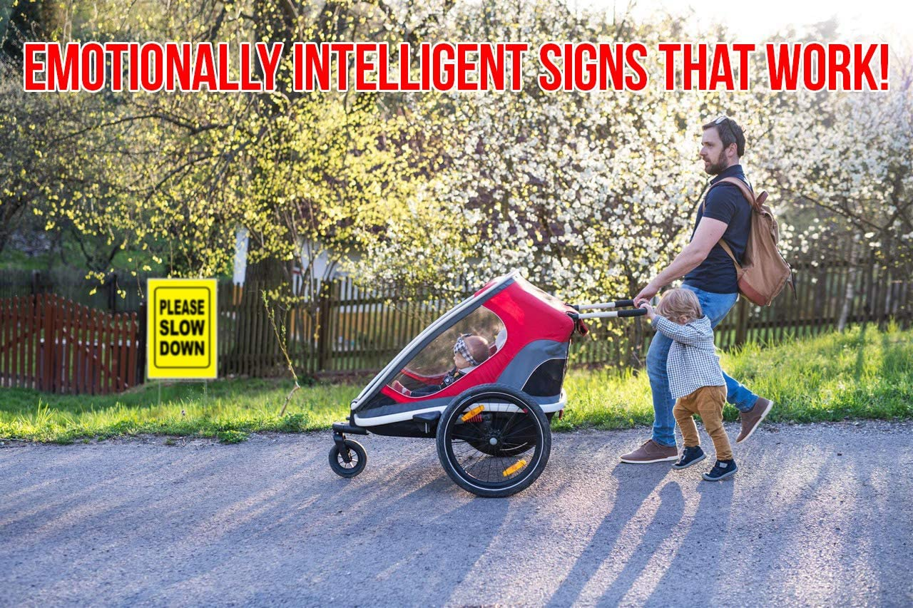 """Double-Sided Black on Yellow Safety Slow Down Signs for Sidewalks Accelerated Intelligence Inc Yards and Driveways 4 Pack Slow Children at Play Yellow Yard Sign 18/"""" x 24/"""""""