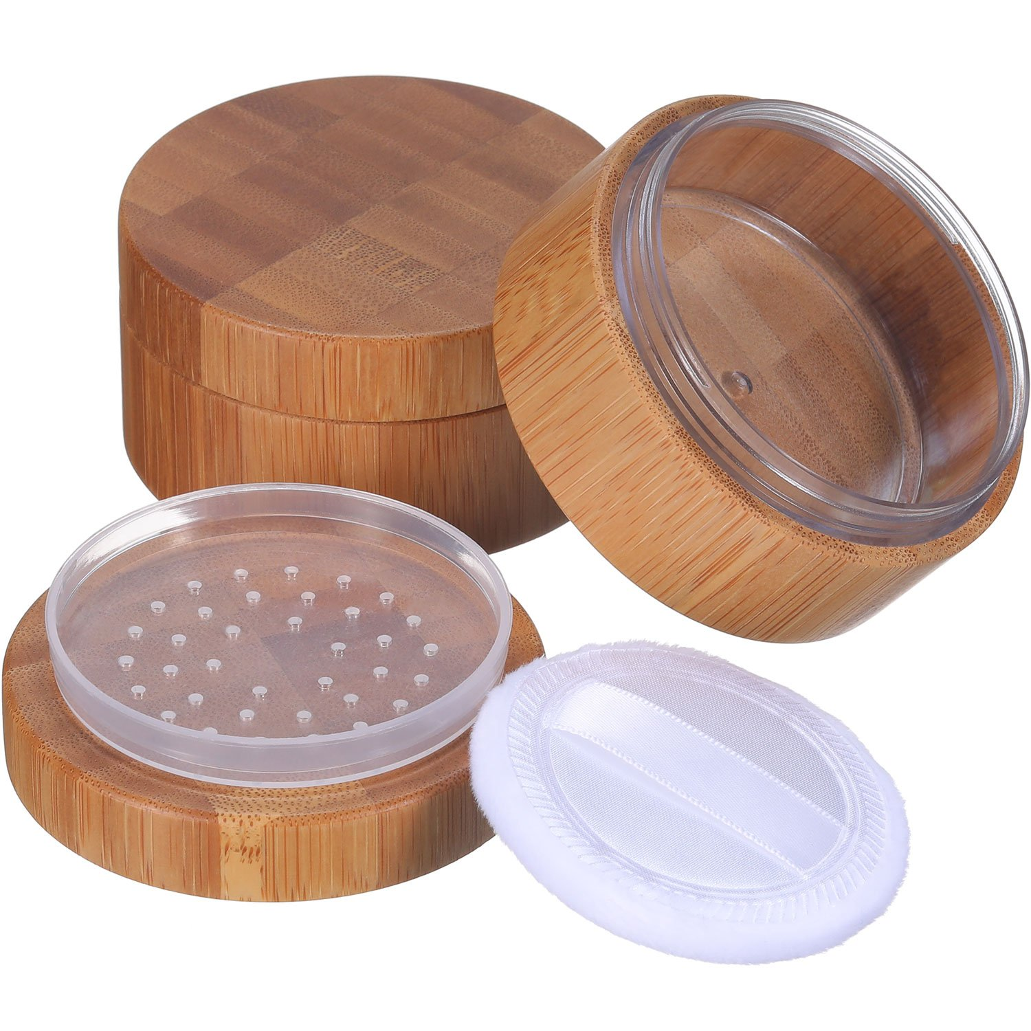 Frienda 2 Pack 30 ml Empty Powder Case Bamboo Cosmetic Make-up Loose Powder Box Case Container Holder with Sifter Lids and Powder Puff