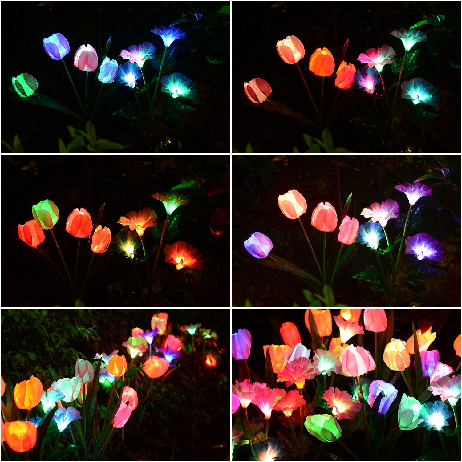 Solarmart Outdoor Solar Garden Lights   2 Pack Solar Powered Lights, Multi  Color Changing LED Solar Stake Lights For Garden, Patio, Backyard (Tulip  And ...