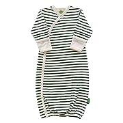 Parade Organics Kimono Gowns - Signature Prints Breton Stripes Hunter Green 3-6 Months