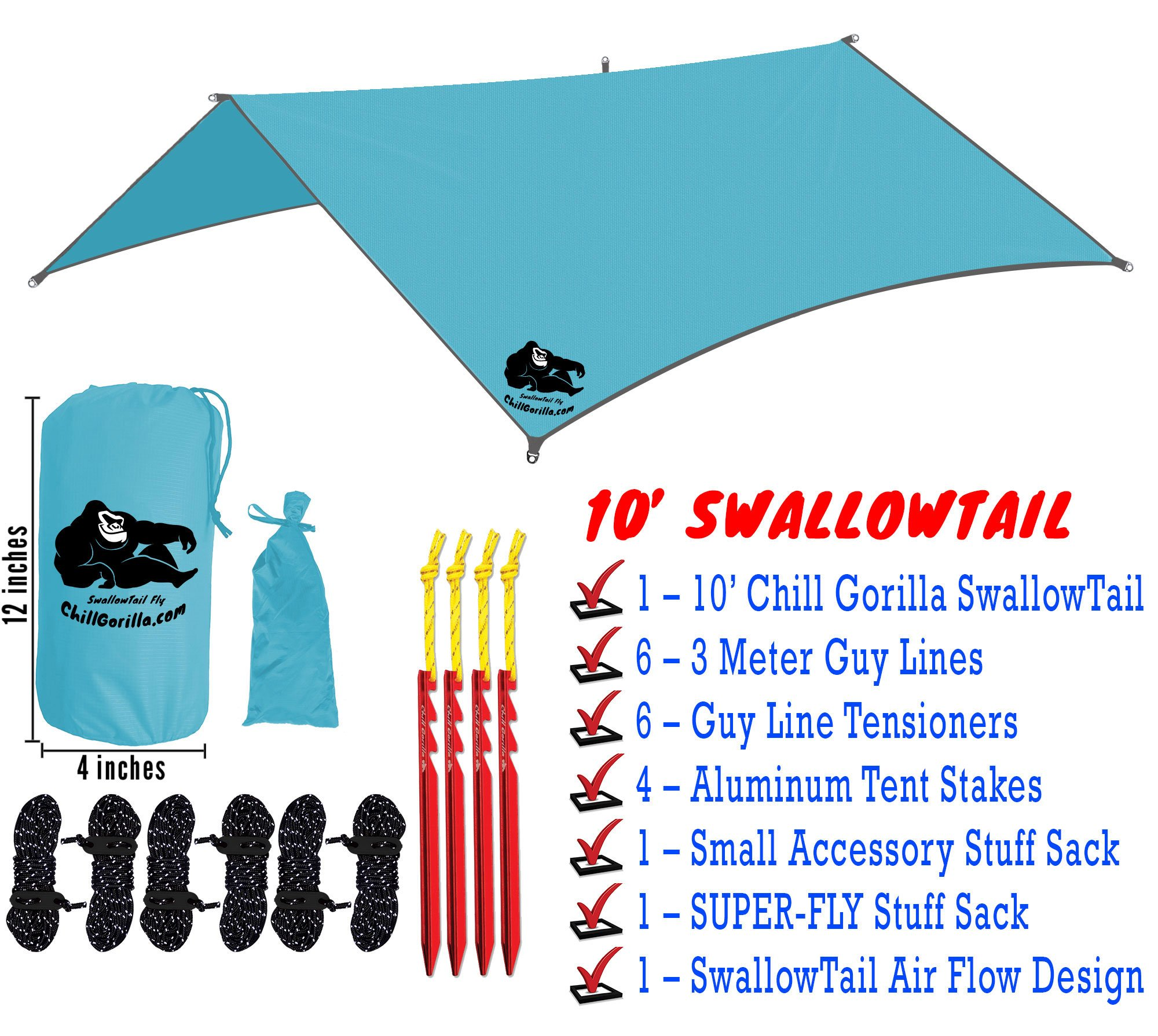 Chill Gorilla 10x10 Hammock Waterproof Rain Fly Tent Tarp