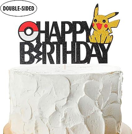 Surprising Amazon Com Pikachu Happy Birthday Cake Topper Pokemon Theme Baby Funny Birthday Cards Online Eattedamsfinfo