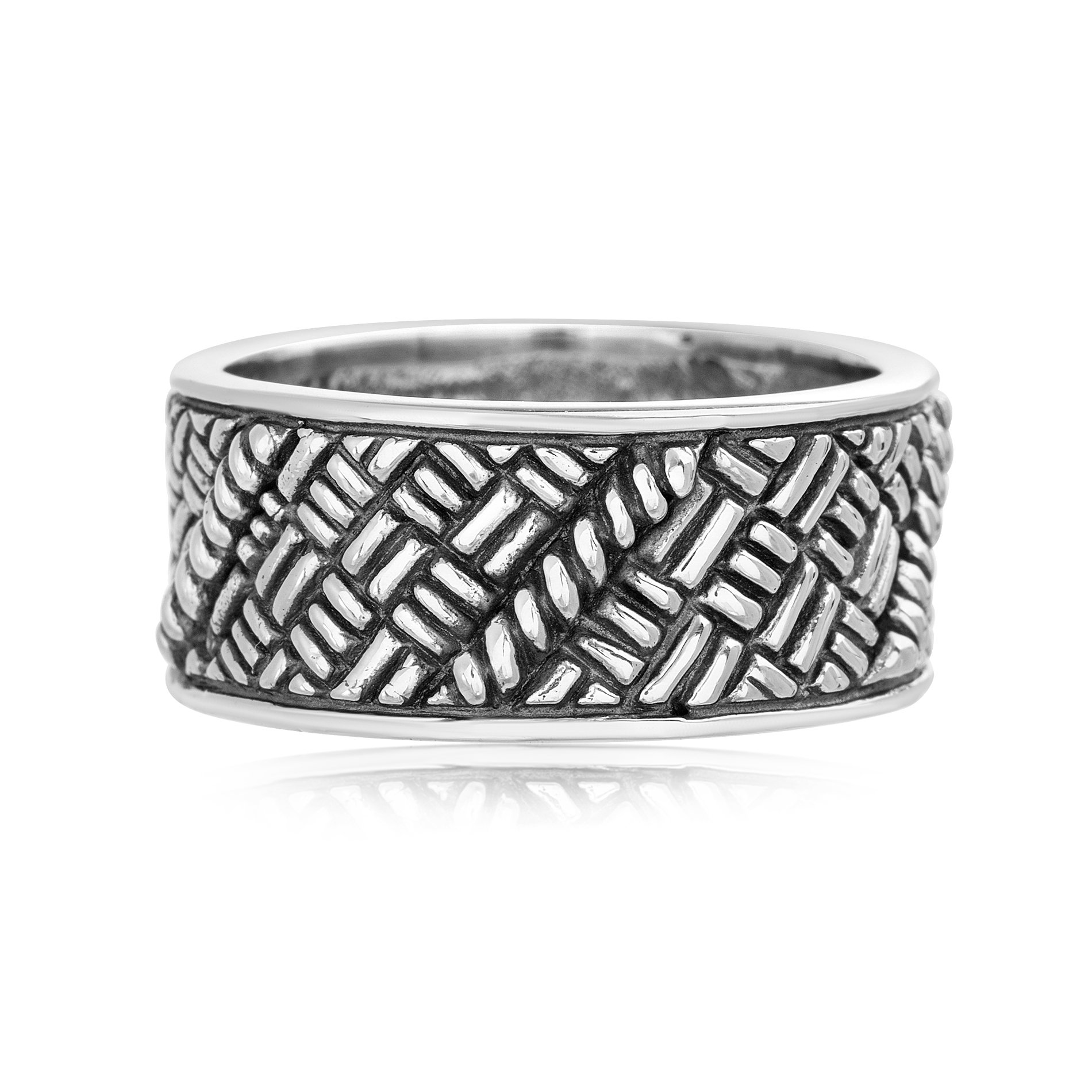 Willowbird Men's Basket Weave Design Band Ring in Oxidized Sterling Silver (Size 10)