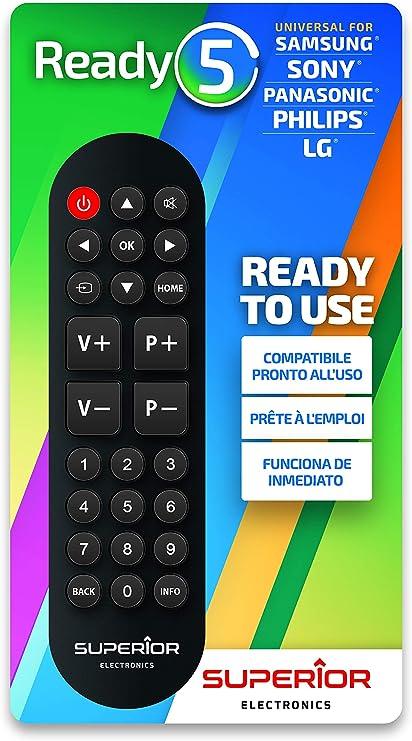 Superior Ready 5 SUPTRB014 - Mando a Distancia Universal autoaprendizaje Compatible con Todas Las TV y Smart TV: Amazon.es: Electrónica