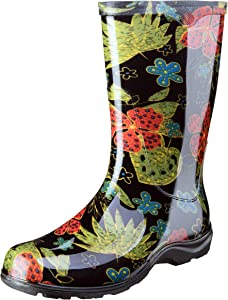 Sloggers Women's Waterproof Rain and Garden Boot with Comfort Insole, Midsummer Black, Size 6, Style 5002BK06