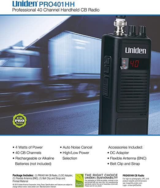 Uniden PRO401HH Portable Handheld CB Radio 40 Channel High Low Pro 401