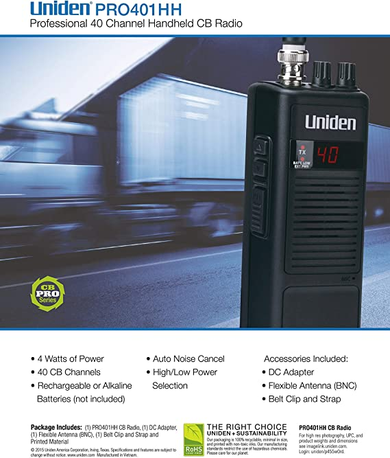 Uniden PRO401HH 40 Channel Handheld CB Radio New