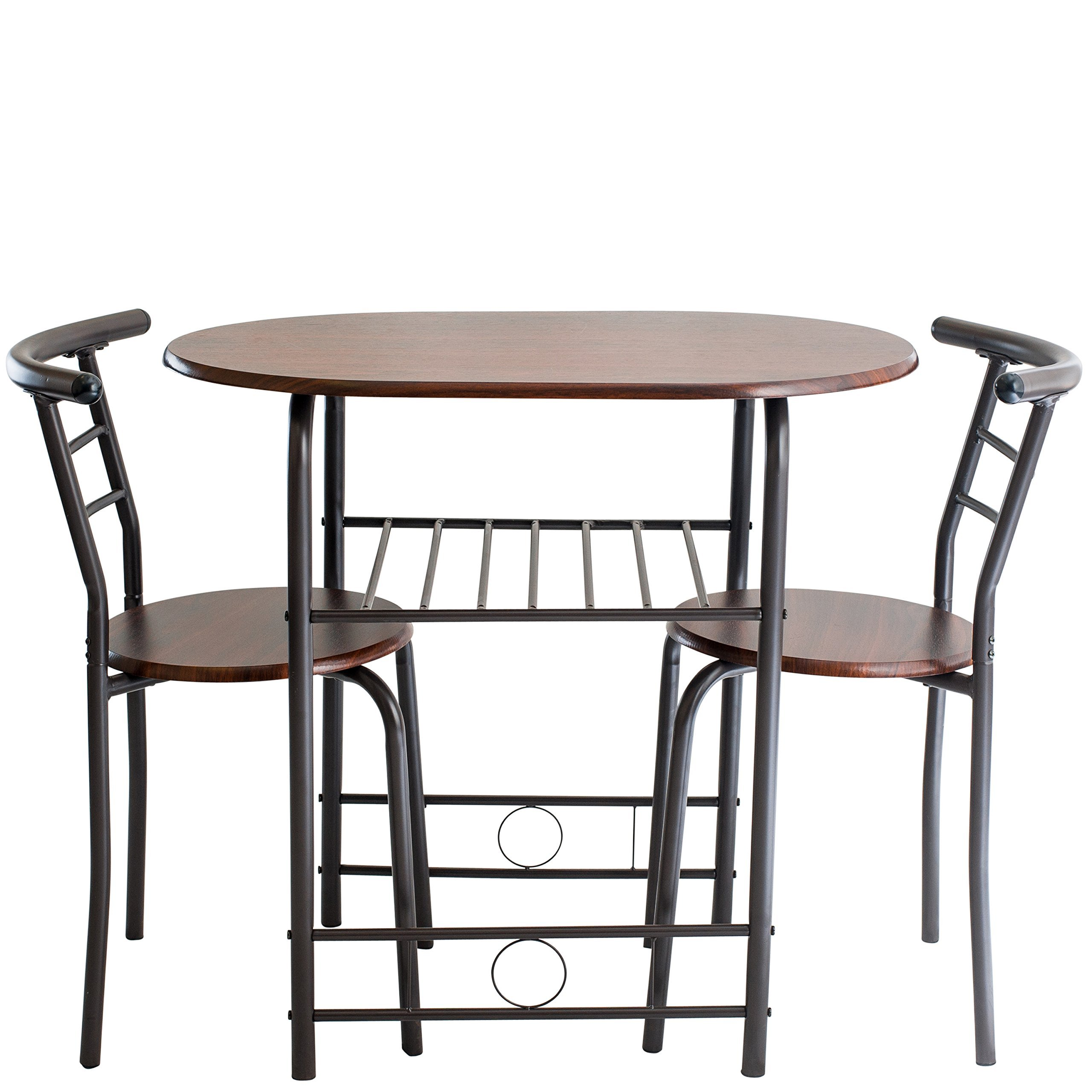 Handi-Craft 725791821077 3 Piece Compact Dining Set with Table and Matching Chairs, Dark Walnut