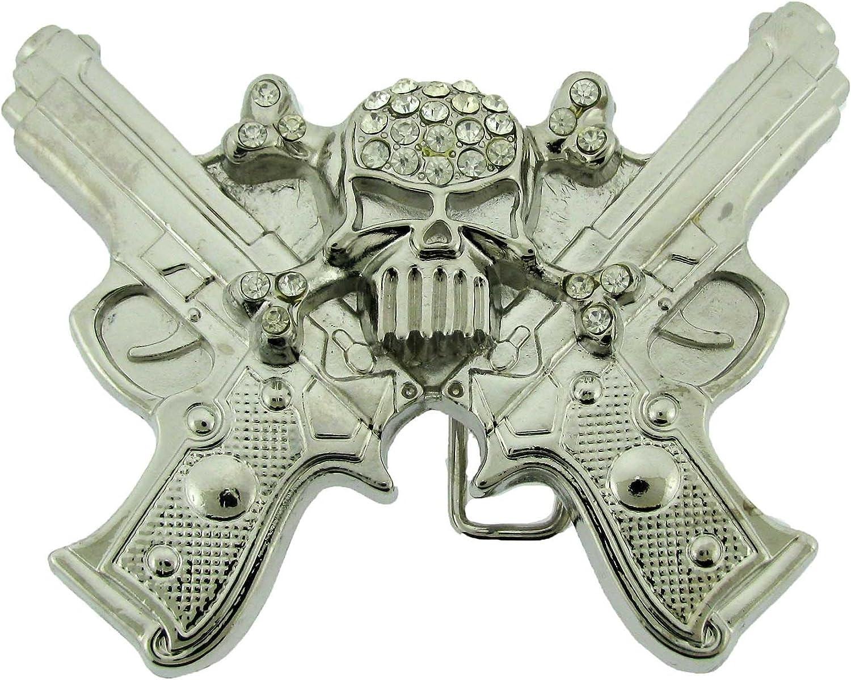 Revolver Gun w// Skull Tattoo Metal Fashion Belt Buckle