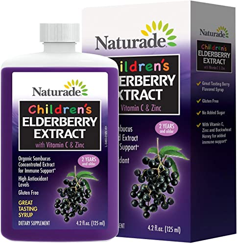 Naturade Children s Elderberry Extract Syrup with Vitamin C Zinc, 4.2 fl oz 125 ml