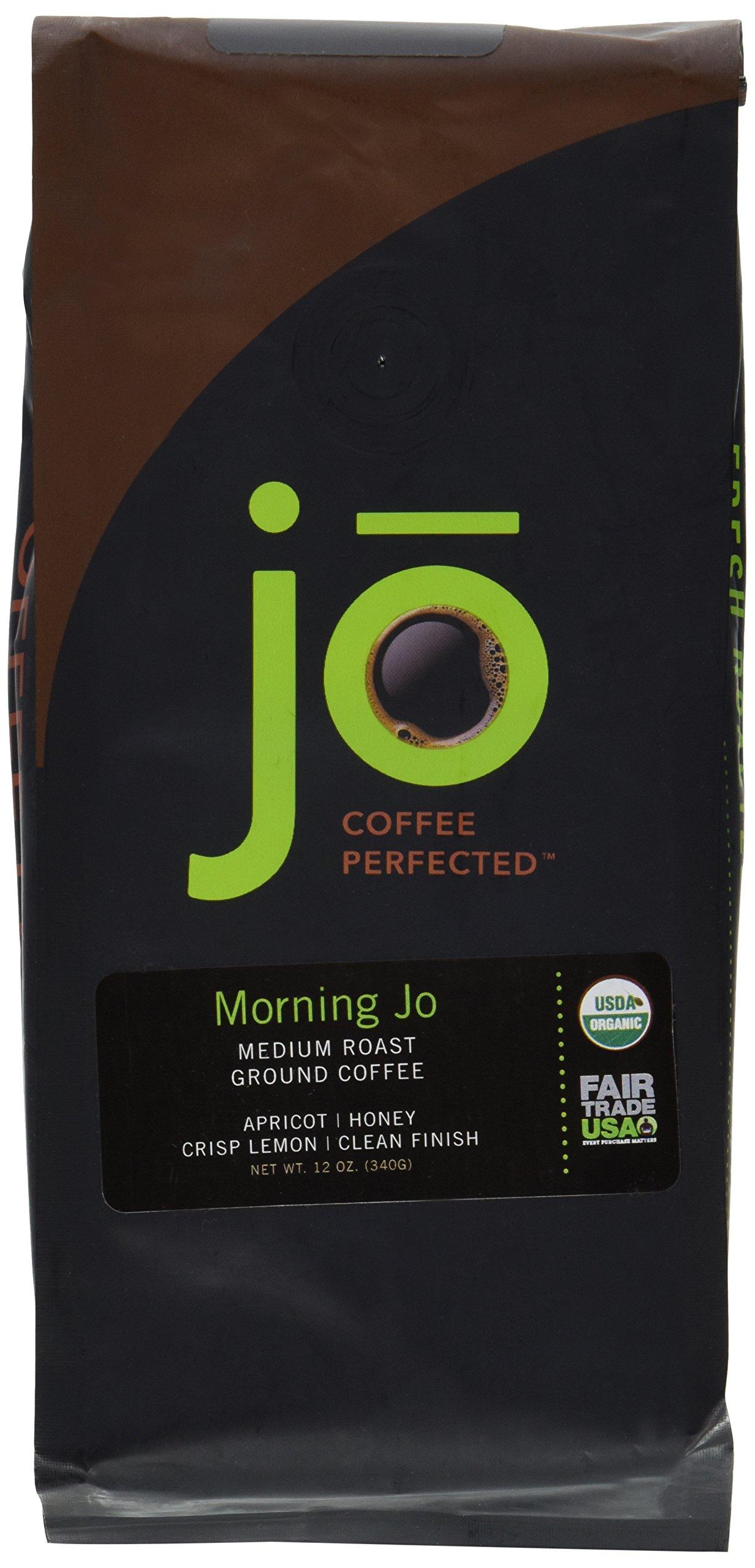 MORNING JO: 12 oz, Organic Breakfast Blend Ground Coffee, Medium Roast, Fair Trade Certified, USDA Certified Organic, NON-GMO, 100% Arabica Coffee, Gourmet Coffee from the Jo Coffee Collection