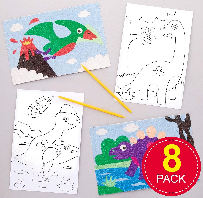 Baker Ross- Dibujos de dinosaurios para decorar con arena y ...