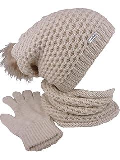 Feoya Herren Damen Schal M/ütze Handschuhe Set Wolle Warme Winterset Gestrickt Beanie Schnee Hut
