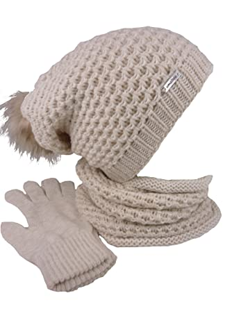 75e60eade2acce AMALTEA TEA 3 teiliges Damen Winterset Schal Mütze Handschuhe (beige camel)