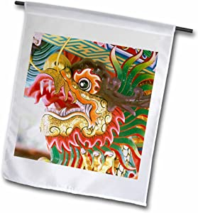 3dRose fl_71083_1 Thailand/Bangkok Dragon in Chinese Temple AS36 RYO0190 Russell Young Garden Flag, 12 by 18-Inch