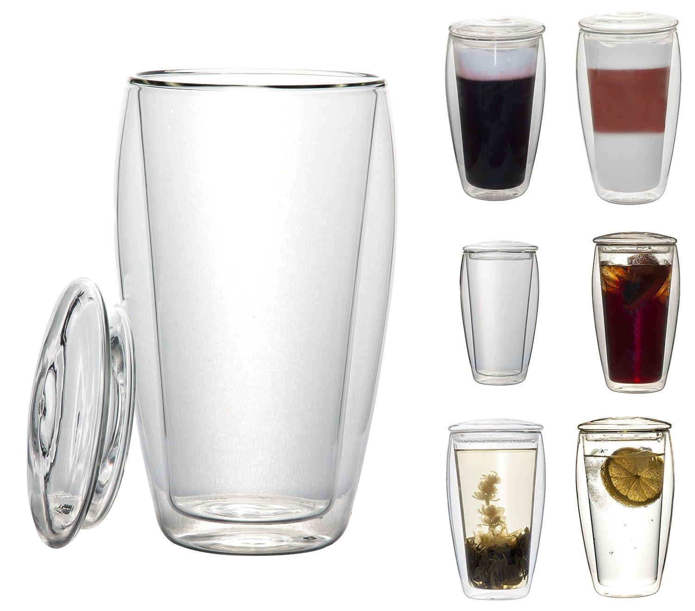 Vaso de crital térmico con tapa. Las bebidas duran mas tiempo calientes o frías.
