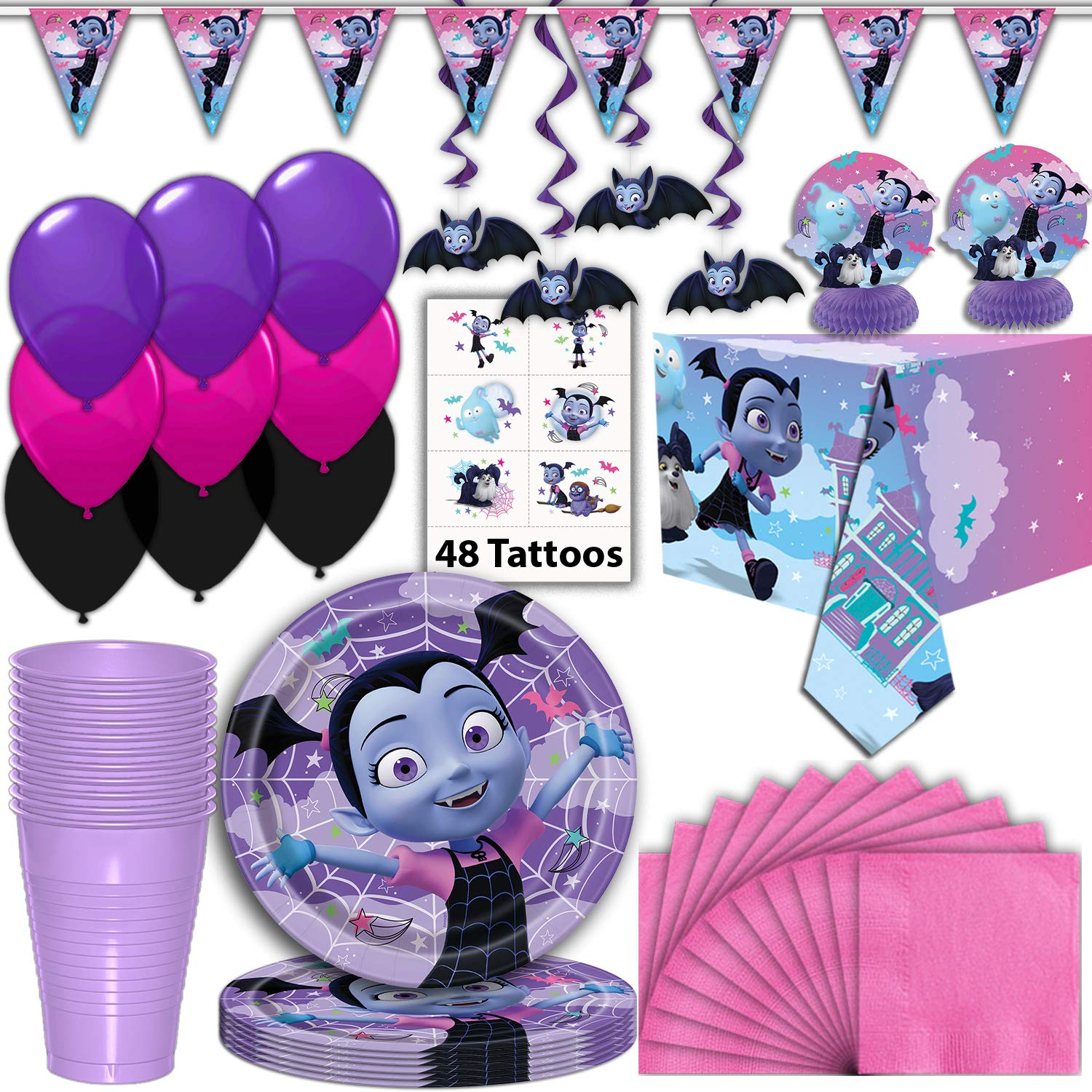 Vampirina Party Supplies for 16 - Plates, Napkins, Cups, Tablecloth, Tattoos, Banner, Hanging Swirls, Centerpieces, Balloons - Disney Junior Disposable Birthday Decorations, Favors, and Tableware