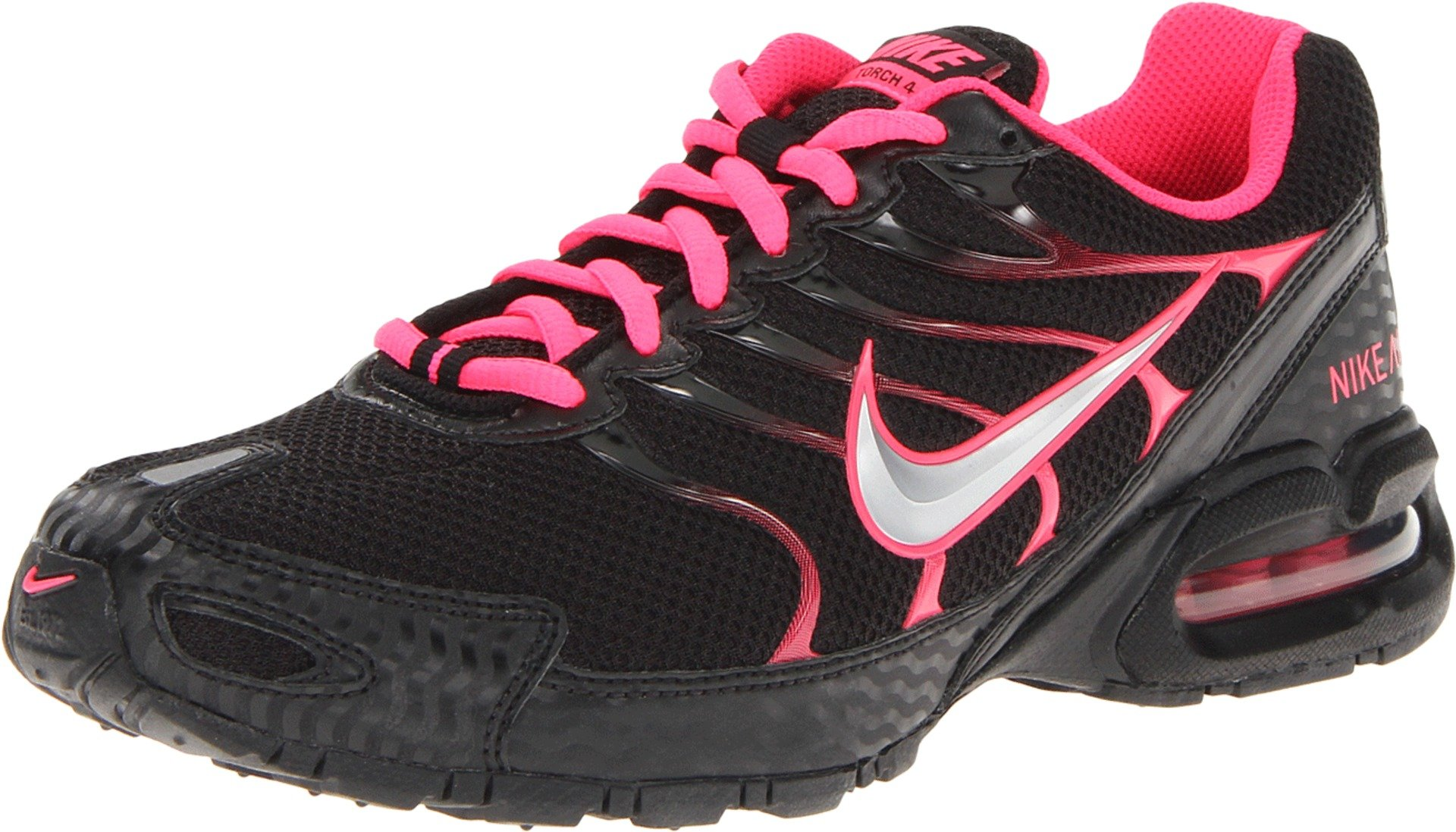 dd7be7f67fe Nike Womens Air Max Torch 4 Running Shoes Black Silver Pink Flash 7.5