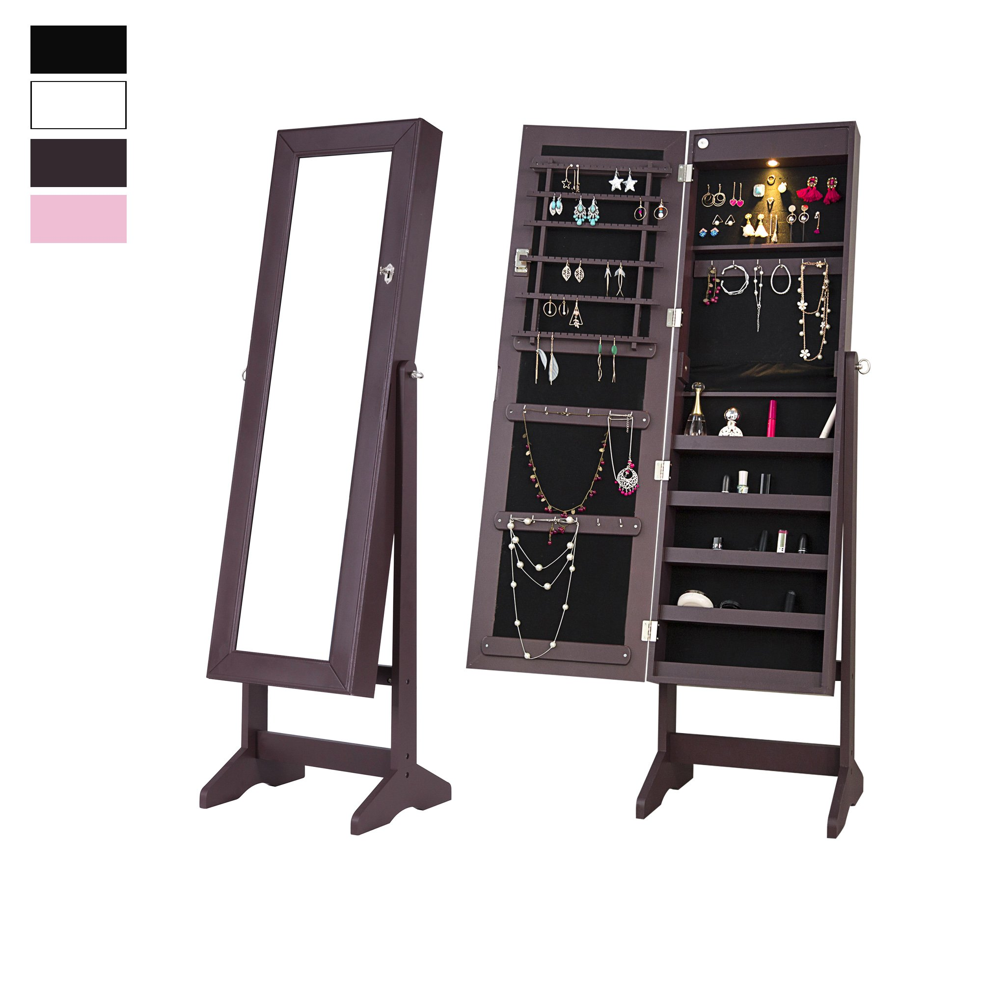 Cloud Mountain Mirrored Jewelry Cabinet Free-Standing Lockable Jewelry Armoire Full Length Floor Tilting Jewelry Organizer with LED Light, 4 Adjustable Angles Storage, Espresso