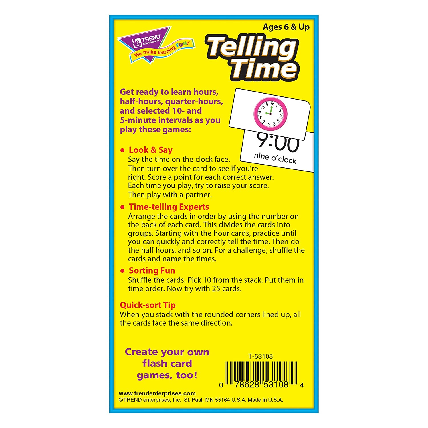 worksheet Time Flash Cards amazon com telling time flash cards toys games