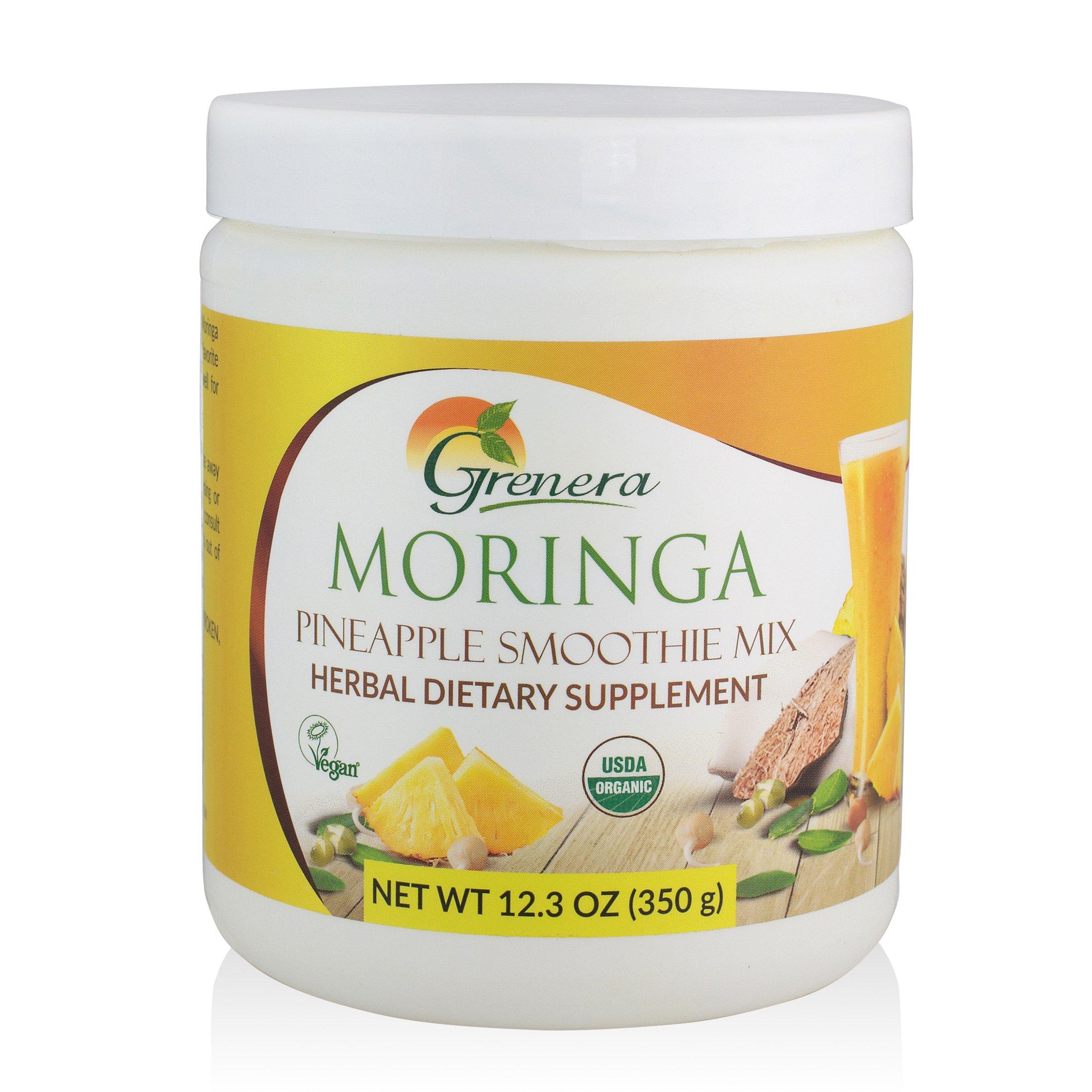 Grenera Organic Moringa Pineapple Smoothie Mix-12.3 ounce/ 350 gram -USDA Organic, Vegan, Kosher Certified