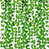 Outgeek Artificial Ivy 12 Strands 84 Ft Silk Fake Ivy Leaves Hanging Vine Leaves Garland Party Garden Wall Decoration 12 Pcs