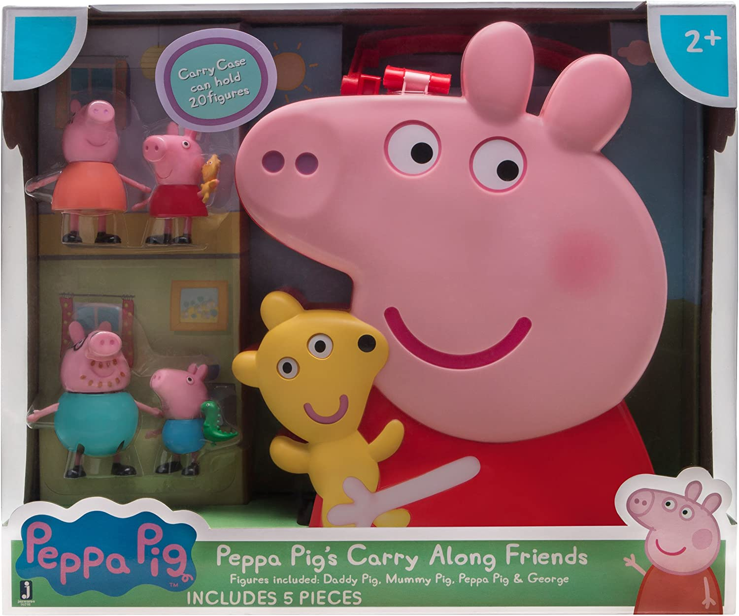 PEPPA PIG'S Carry Along Friends Storage Case W//Handle Holds 20 1 Included-NIB