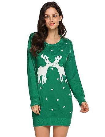 0b95ed30ad Dethler Women s Christmas Reindeer Pullover Sweater Printed Knitted Dress