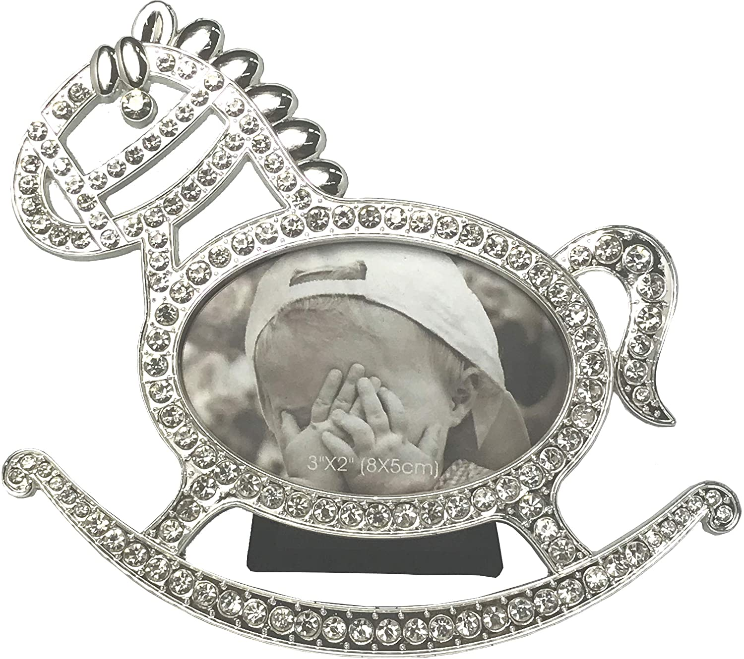 VI N VI Rocking Horse Baby 3 x 2 Picture Frame with Silver Rhinestones Frames for Young Children Babies and Newborns