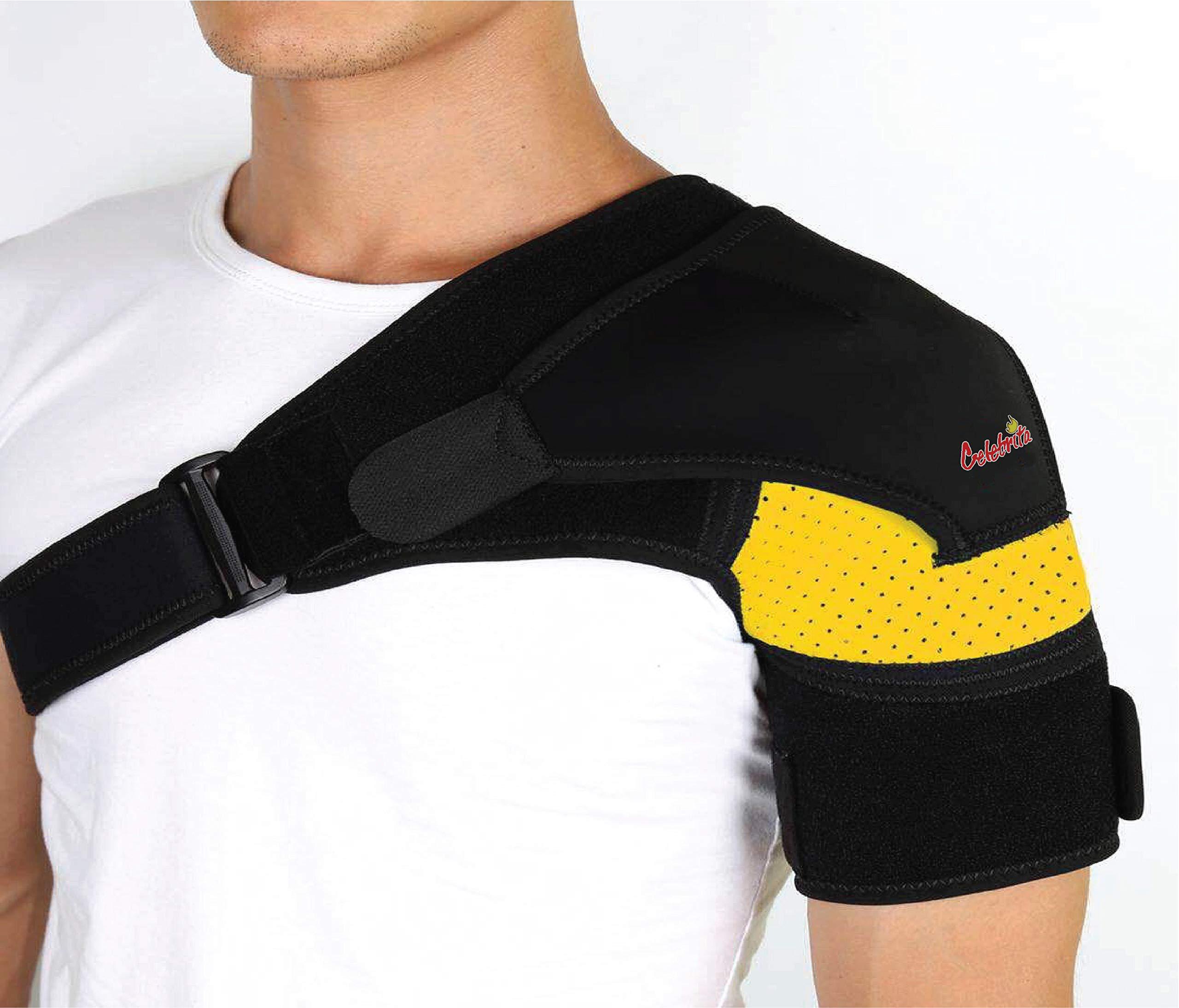 Shoulder Brace-Shoulder Compression Sleeve Strap wrap Provides Support & Ease in Rotator Cuff, Shoulder Pain & Labrum Tear Injury for Men & Women. by Celebrita MMA
