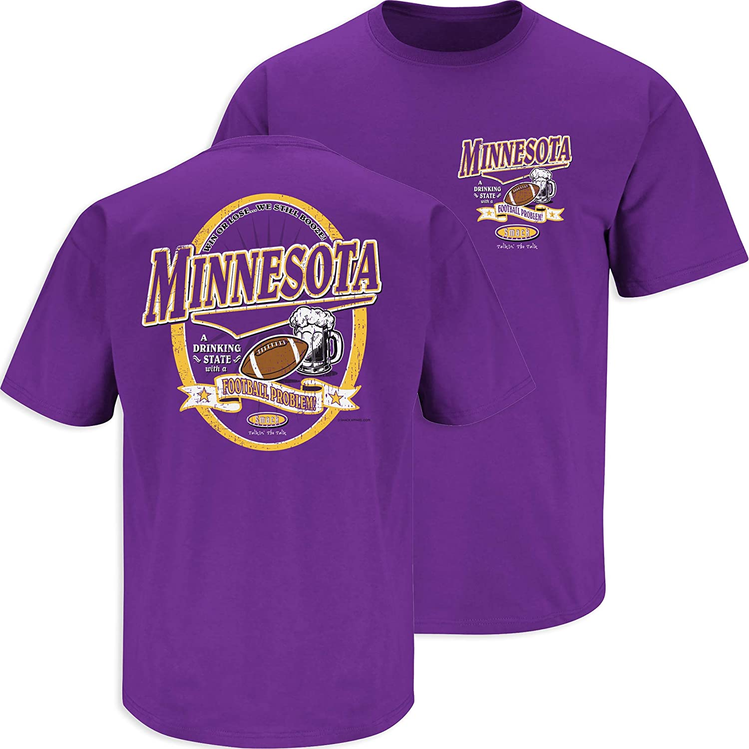 Sm-5X Smack Apparel Minnesota Football Fans A Drinking State with a Football Problem Purple T-Shirt