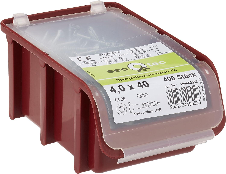 SECOTEC Spanplattenschraube PZ Senkkopf in praktischer Stapelbox zu 500 St/ück verzinkt 4x30
