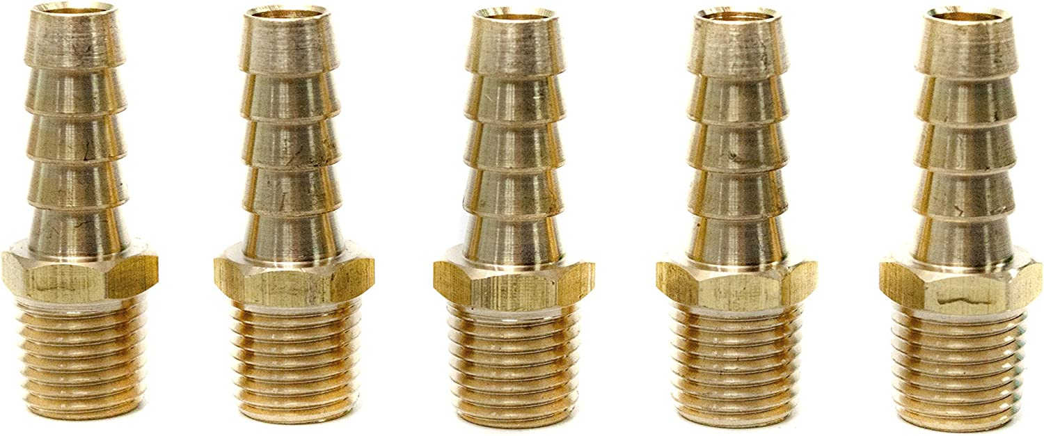LTWFITTING Brass Barb Fitting Coupler 3//8-Inch Hose ID x 1//2-Inch Male NPT Fuel Gas Water Pack of 200