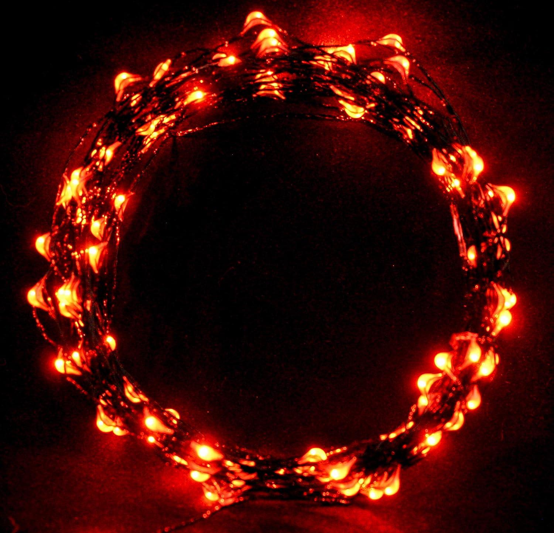Cincy Illumination Ultra Bright Orange USB 33 Ft Firefly String Lights. Black Wire. (1, Orange 33 FT USB & A/C No Remote)