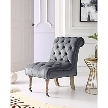 Dolly Grey Velvet Accent Chair   Rolled Back | Armless Slipper |  Upholstered Button Tufted |