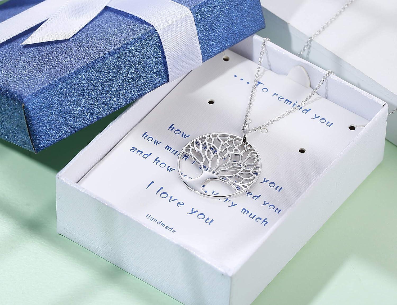 Milacolato Arbre de Vie Pendentif Collier Femmes Filles 925 Sterling Argent Amour Collier Maman Femmes Cadeau Bijoux